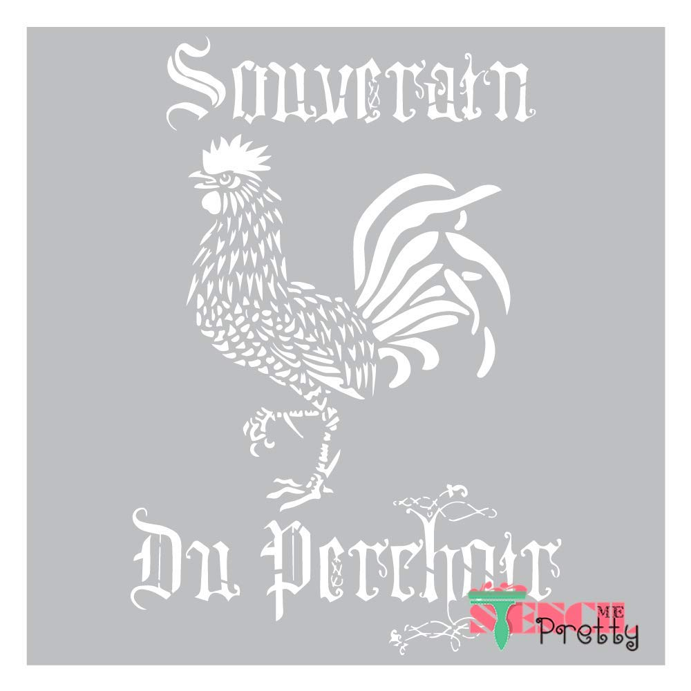 Museum Grade Ultra Thick Clear Color Material Stencil - French Rooster-Multipack (XS, M, XL) by Stencil Me Pretty