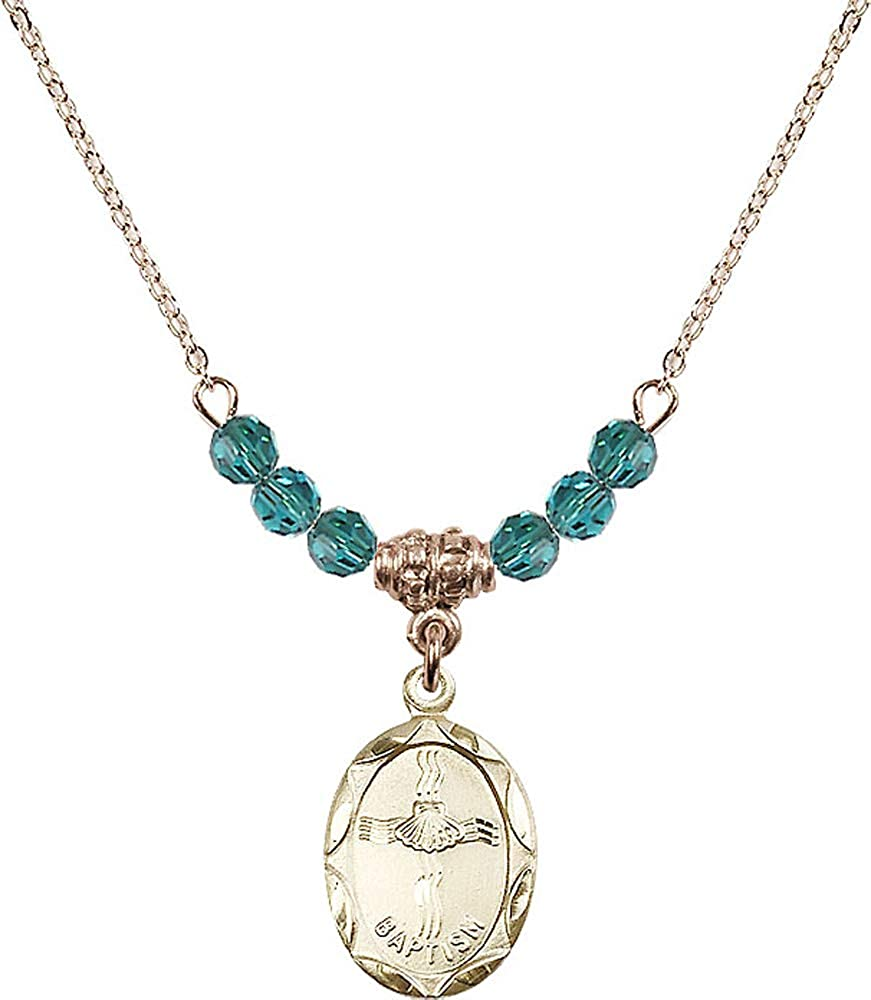 Blue Zircon December Birthstone 18-Inch Hamilton Gold Plated Necklace with 4mm Zircon Birthstone Beads and Baptism Charm