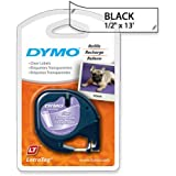 DYMO LetraTag Labeling Tape for LetraTag Label Makers, Black print on Clear pastic tape, 1/2'' W x 13' L, 1 roll (16952)