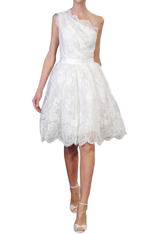 TOSKANA BRAUT Stilvoll Ein-Schulter Knielang Abendkleider Kurz Spitze Braut Cocktail Party Ball Hochzeitskleider