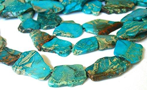 5pcs x Natural Ocean Blue Sea Sediment Jasper Smooth Free Form Gemstone Nugget Loose Beads ~20-45mm (Emerald Jasper Bracelet)