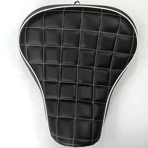 HTT Motorcycle Black Custom Front Solo Driver Checks Style Leather Seat For 2005 2006 2007 2008 2009 2010 2011 2012 2013 Harley Davidson XL 1200S Sportster