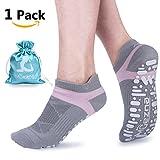 Muezna Non Slip Yoga Socks for Women, Anti-Skid Pilates, Barre, Bikram Fitness Socks with Grips, Size 5-10 (Gray)