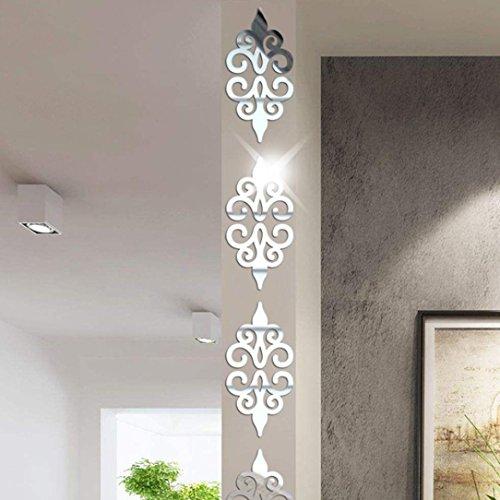 (YJYDADA Wall Sticker,3D DIY Room Decoration Specchio Acrylic Wall Sticker Modern Stickers Decoration (Silver))