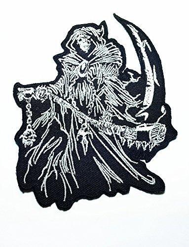 Grim Reaper Skull Ghost Sand Clock Timer of Dead Biker Rider Hippie Punk Rock Heavy Metal Tattoo Biker Punk Rock Motorcycle Biker Logo Jacket Vest shirt hat blanket backpack T shirt Patches Embroidered Appliques Symbol Badge Cloth Sign Costume Gift