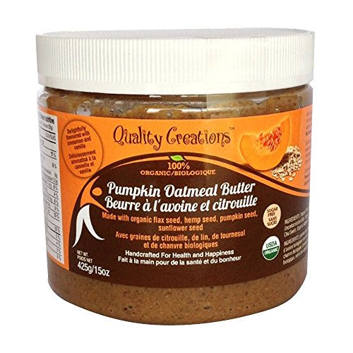SUGAR FREE Pumpkin Oatmeal Butter - 100% Organic. Very Spreadable and So Creamy. Made with Pumpkin Seed, GF Oats, Flax Seed, Hemp Seed and Sunflower Seed. GMO Free. Gluten Free. Delightfully Flavored with Cinnamon and Vanilla. 425g/15oz - Cinnamon Sugar Mix