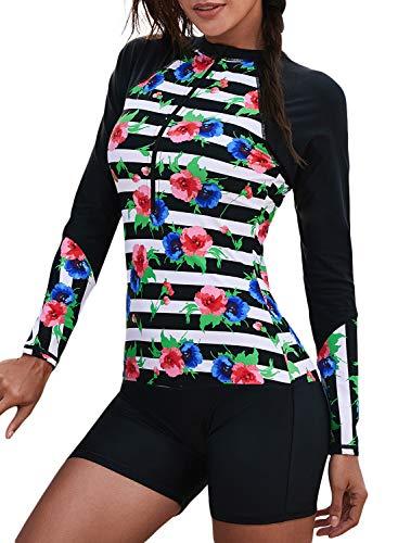 Women's Plus Size Floral Print Rashguard Long Sleeve Zip Surfing Swimsuit Onepiece ()