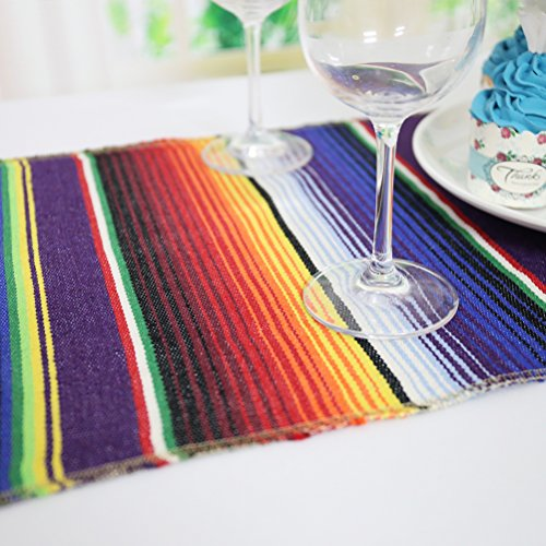 Koyal Pack of 6 14 x 84 inch Mexican Serape Table Runner for Mexican Party Wedding Decorations Fringe Cotton Table Runner by Koyal (Image #4)