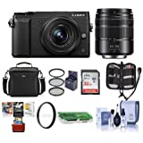 Panasonic Lumix DMC-GX85 Mirrorless Camera Black with Lumix G Vario 12-32mm f/3.5-5.6 & 45-150mm F4.0-5.6 Lenses - Bundle With Camera Case, 32GB SDHC Card, 52mm Filter Kit, Mac Software, And More