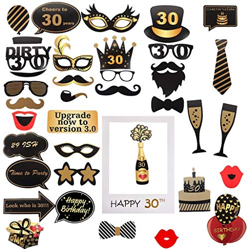Amycute 30th cumpleaños Photo Booth Props y marco photocall ...