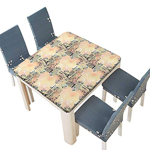 PINAFORE Solid Tablecloth French Paris Themed Lettering Floral Leaves Details Art Blue Black Light Table Cover 37.5 x 37.5 INCH (Elastic Edge)
