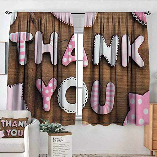 Thank You Window Curtain Drape Romantic Sweet Cookie Letters Sugar Candy on a Rustic Wood Table Image Decor Curtains by 63