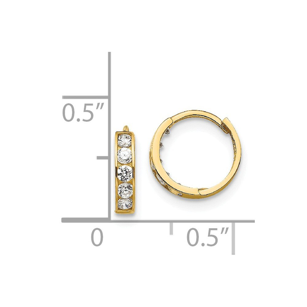 14K Yellow Gold Madi K CZ Childrens Hinged Hoop Earrings Solid 3 mm 10 mm Hinged//Huggie Earrings Jewelry