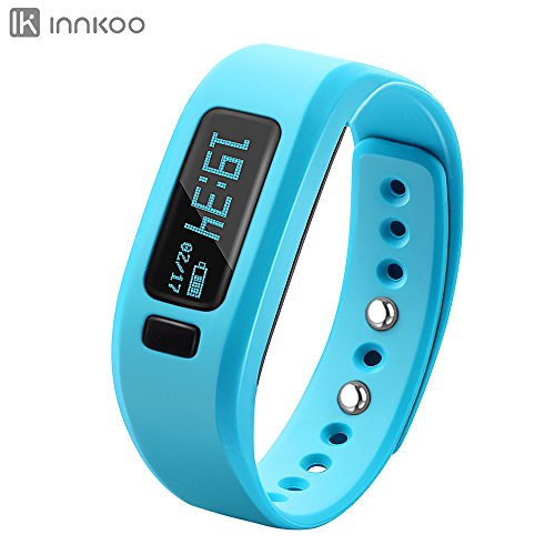 InnKoo Kids Fitness & Activity Tracker Watch, U2 Pedometer Band Calories Counter Smart Sports Bracelet Wristband Sleep Monitor, Bluetooth Sync Anti-lost Long-time Standby (Blue)