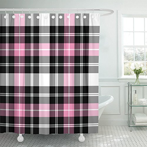 Emvency Shower Curtain Black Squares Tartan Plaid Pattern Pink Check Checkered Waterproof Polyester Fabric 72 x 72 inches Set with Hooks