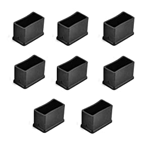 Antrader Rectangle Shaped Furniture Rubber Feet Pads Table Chair Leg Foot End Caps Covers Protectors Black, 15x30mm, Pack of 8