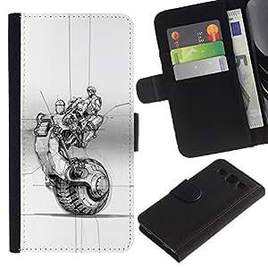 LASTONE PHONE CASE / Lujo Billetera de Cuero Caso del tirón Titular de la tarjeta Flip Carcasa Funda para Samsung Galaxy S3 III I9300 / bike motorcycle wheel tattoo ink art