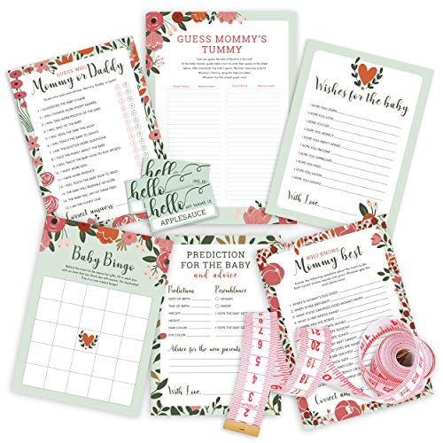 Baby Shower Game Set, Contains 5 Games (50 Sheets Each) with BONUS Mommy Tummy Game and 50 Fun Stickers, Fun Baby Shower Games & Activities, Includes Baby Prediction and Advice, Bingo, Who Knows Mommy, and Guess Who Games