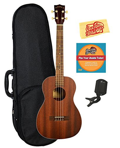 Kala MK-B Makala Baritone Ukulele Bundle with Hard Case, Clip-On Tuner, Austin Bazaar Instructional DVD, and Polishing Cloth by Kala