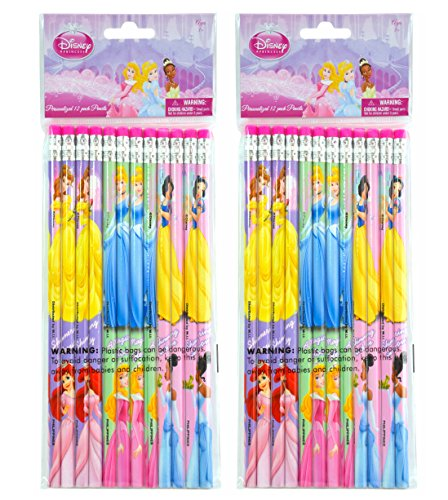 2-PACK, Disney Princess 12 Pack Wood Pencils
