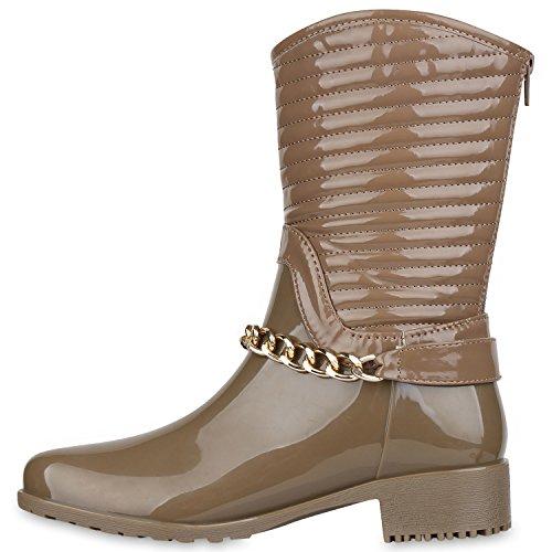 Damen Gummistiefel Nieten Regenschuhe Wasserdicht Metallic Stiefel Boots Blockabsatz Schuhe Profilsohle Flandell Khaki Avelar
