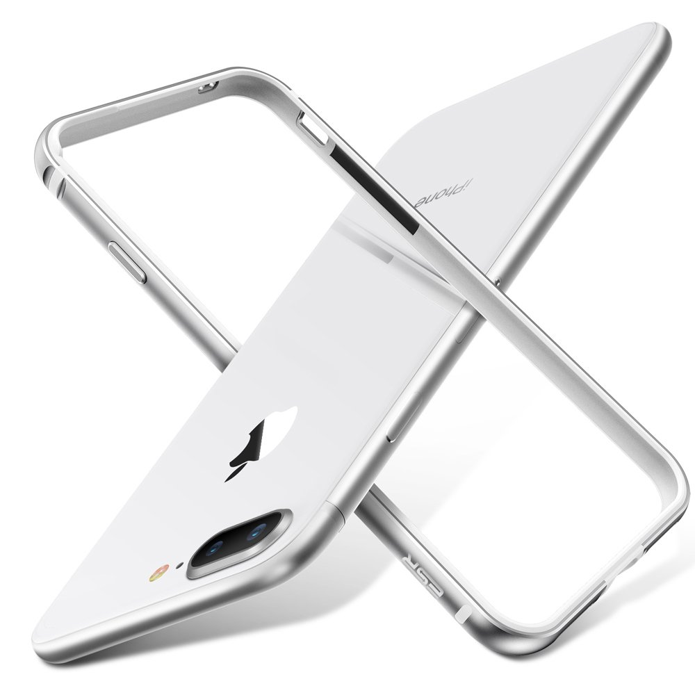 ESR Coque pour iPhone 8 Plus / 7 Plus, Armature du Cadre en mé tal,Housse de Protection[Ne Bloque Pas la ré ception du ré seau] [Bords de Protection suré levé s] pour iPhone 8/7 (Bumper Argent) Armature du Cadre en métal