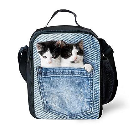b26a10253e46 Amazon.com: LedBack 3D Animal Lunch Bag for Kids Denim Cat Insulated ...