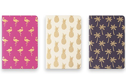 Eccolo Mini Memo Books / Jotters, 4 x 6 Inches, Ruled, Flexible Cover, Pack of 3 (Tropical Designs)