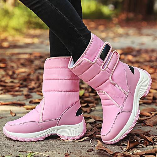 Media Para Zapatos Redonda Casuales Pu De rosa Plano azul Costuras Beige Caminar us5 Nieve Botas Mujer Tacón A rosa eu36 Punta Encaje Invierno poliuretano 5 Pierna 81xE8Zqc