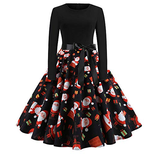 HGWXX7 Women's Christmas Vintage Print Long Sleeve Hepburn Dress Evening Party Swing Dress(M,Black-7) ()
