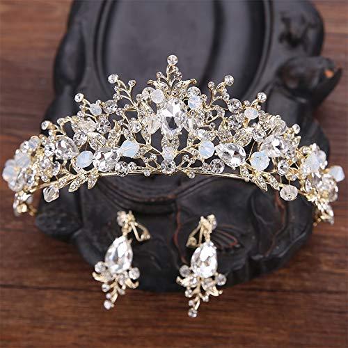 Bridal Hair Accessories Hand-Beaded Baroque Luxury Jinjing Huang Crown Tiara Diadem Sweet Princess Wedding Hair Wholesale Crown ()