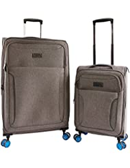 ORIGINAL PENGUIN Luggage Platt 2 Piece Set Expandable Suitcase with Spinner Wheels, Grey Crosshatch/Blue