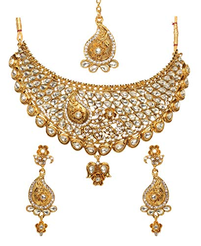 (Bindhani Women's Indian Jewelry Simple Bridal Wedding Party Wear Crafted Brides Gold Plated Kundan Polki Choker Necklace Earrings Tikka Fashion Bollywood Style Jewellery Tika Set for Bridemaids )