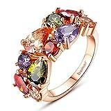 BAMOER 18K Rose Gold Cubic Zirconia Promise Wedding Party Ring for Girls Women Size 5