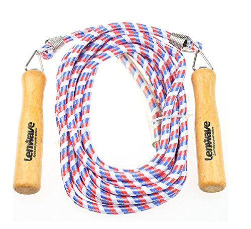 Lenwave 16.4ft LoDouble Dutch Jump Ropes Wooden Handle Ergonomic Durable and Easily Adjustable Best Exercise for Weight-Loss and Health (Red&White&Blue) For Sale
