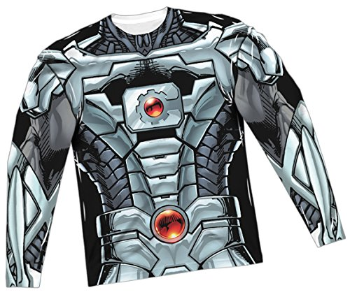 Cyborg Costume -- Justice League All-Over Long-Sleeve T-Shirt, Medium