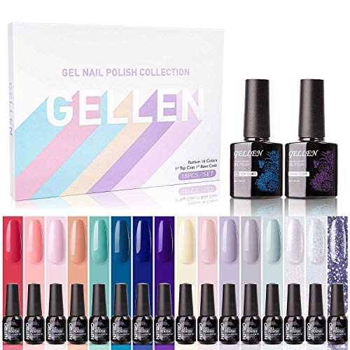 Gellen Gel Nail Polish Kit 16 Colors With Top Base Coat - Spring Into Summer Collection Popular Lively Fresh Solid Colors, Shimmers Glitters Nail Gel Colors, Soak Off UV Home Gel Manicure Set