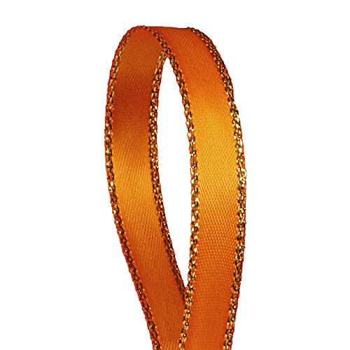 Orange Satin Ribbon with Gold Edges, 3/8