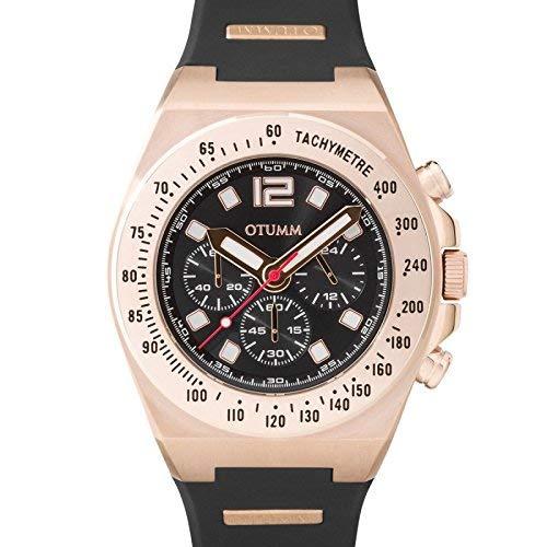 Otumm Athletics - Reloj deportivo unisex con correa negra y esfera negra oscura de oro rosa y cronómetro, de 01 45 mm: Amazon.es: Relojes