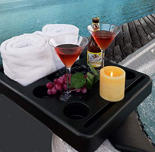Hot Tub Towel Holder, Snack Tray, Phione and Tablet Stand (Ice Table Holder Bucket)