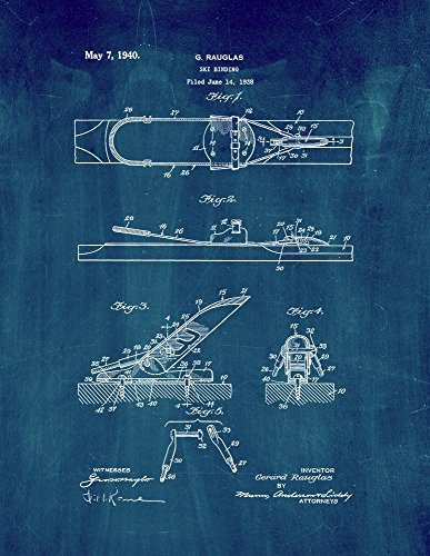 Ski Binding Patent Print Art Poster Midnight Blue