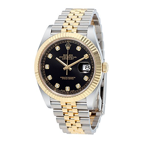 (Rolex Datejust 41 Black Diamond Dial Stee and 18K Yellow Gold Jubilee Mens Watch 12633BKDJ)