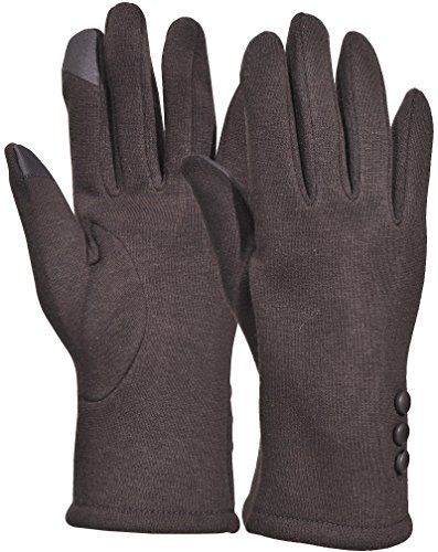 Beurlike Womens Touchscreen Texting Gloves Warm Lined Thick Winter Gloves (Brown) Brown Winter Lined Glove