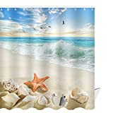 Beach Shower Curtain ABxinyoule Starfish Beach Theme Shower Curtain Seashell Conch Shell Fabric Blue