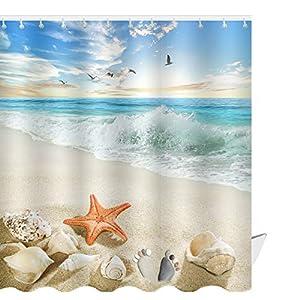 51FJk5THBdL._SS300_ 200+ Beach Shower Curtains and Nautical Shower Curtains