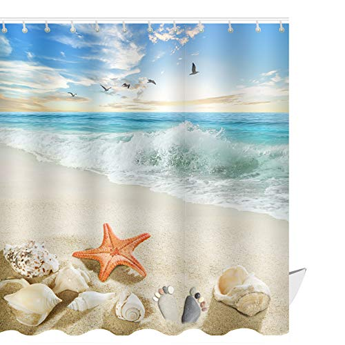 ABxinyoule Starfish Beach Theme Shower Curtain Seashell Conch Shell Fabric Blue (Best Shower Curtain Material)