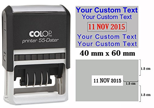 Self Inking COLOP P 55 Dater Stamp Custom Text With Date Stamp Large- Rubber Stamp With Date Office Stationary - Blue Text With Red Date