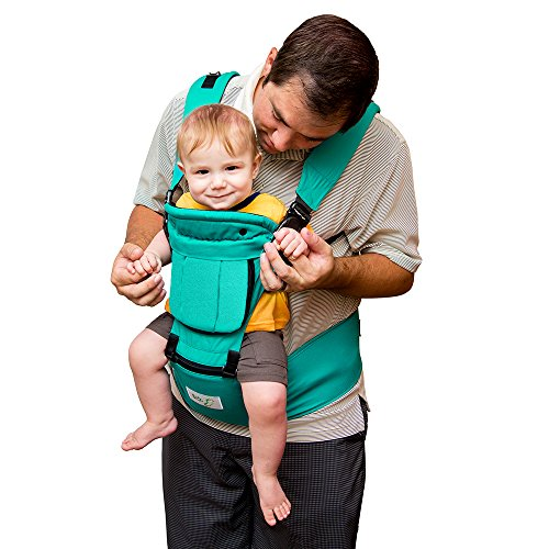 BabySteps Ergonomic Baby Carrier with Hip Seat for All Seasons, 6 Comfortable & Safe Positions for Infant & Toddlers, 48.8'' Maximum Adjustable Waistband Maximum, Perfect for Alone Nursing and Hiking