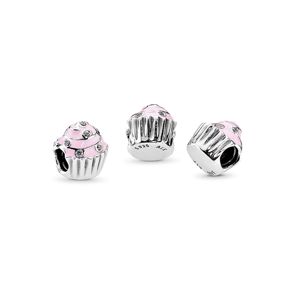 PANDORA Sweet Cupcake Charm, Sterling Silver, Light Pink Enamel Clear Cubic Zirconia, One Size