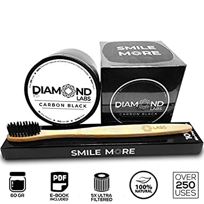 Diamond Labs Premium Activated Carbon Coconut Charcoal Teeth Whitening Powder Kit (60g) All Natural Formula - Includes FREE Bio-Degradable Bamboo Toothbrush & FREE Downloadable E-book - Mint Flavor